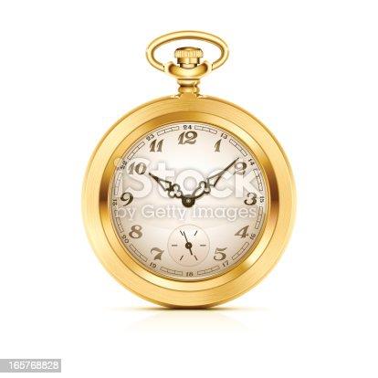 istock Gold pocket watch 165768828