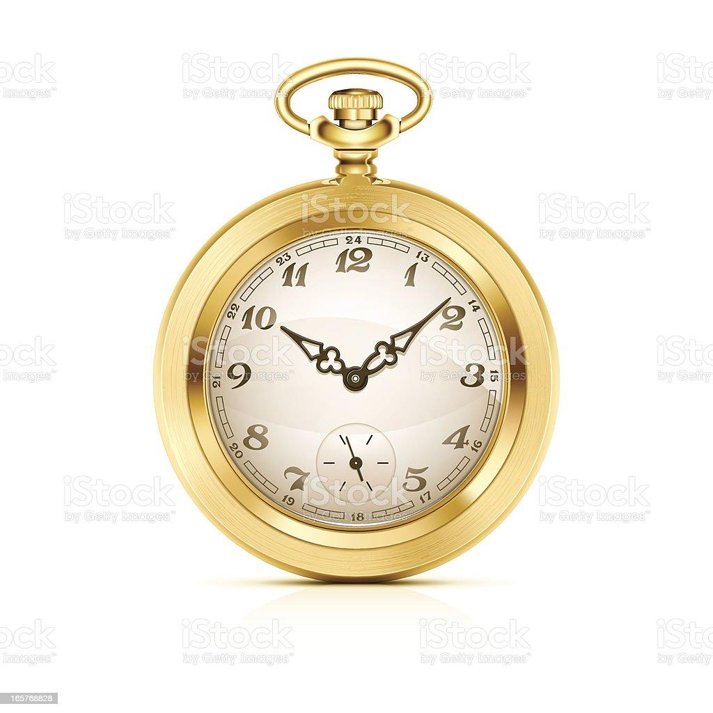 Gold pocket watch vector art illustration