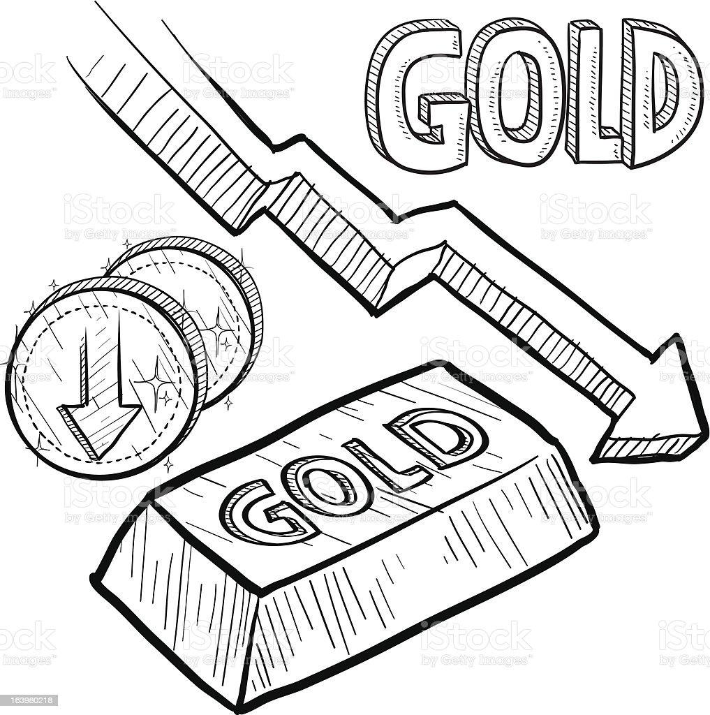 Gold Price Decreasing Sketch Stock Vector Art More Images Of Arrow