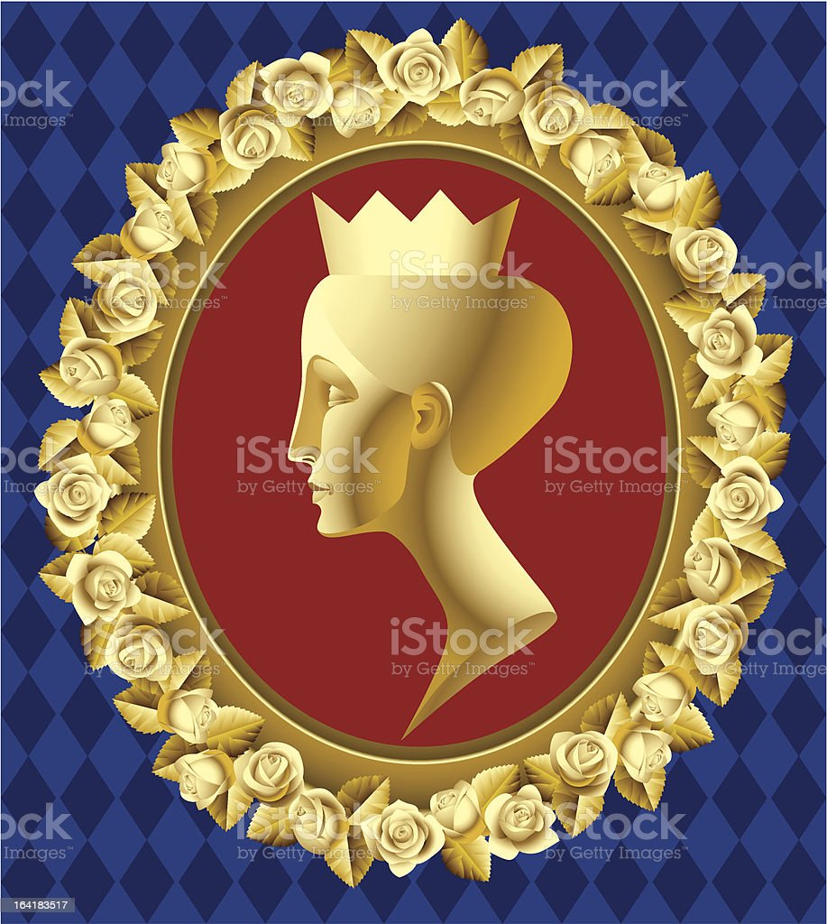 Gold profile of queen royalty-free stock vector art