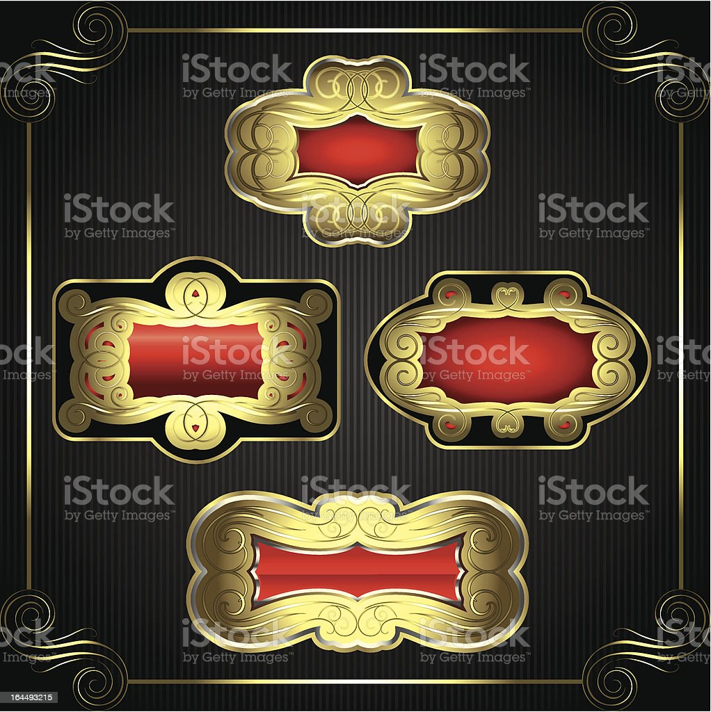 Gold red labels royalty-free stock vector art