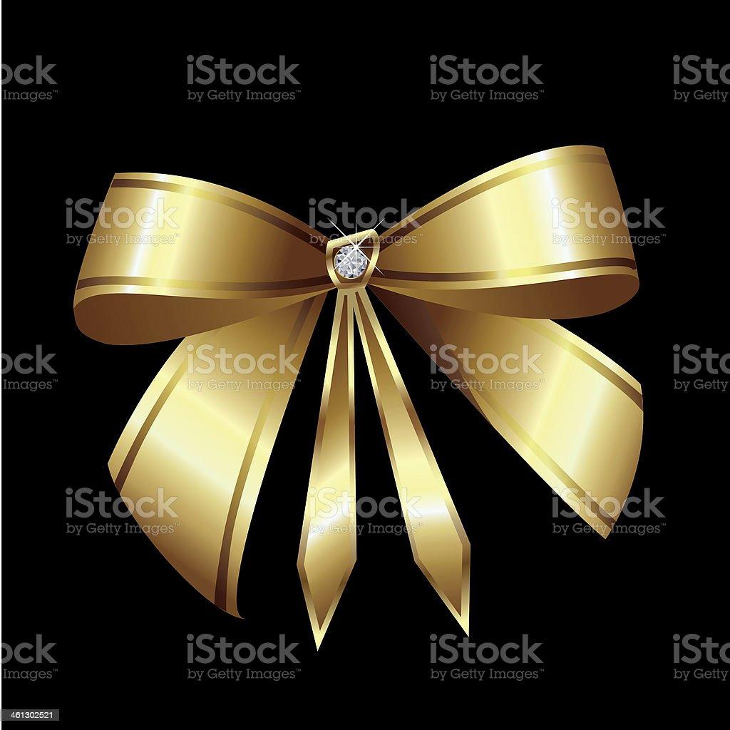 Gold ribbon with diamond royalty-free stock vector art
