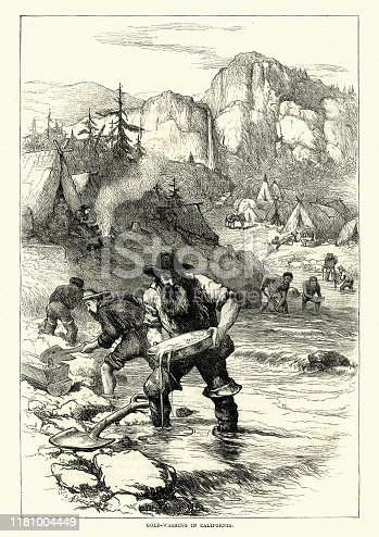 Vintage engraving of Gold rush, miners panning for gold, California, 19th Century