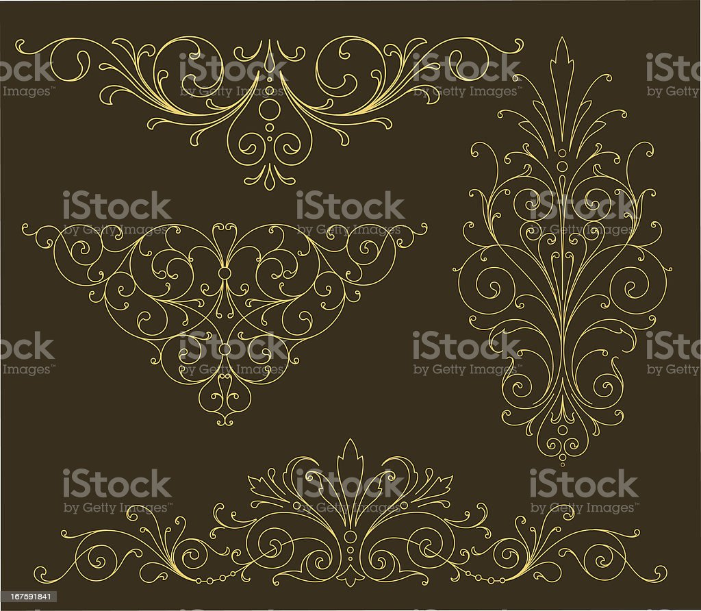 Gold Scroll Ornaments royalty-free stock vector art