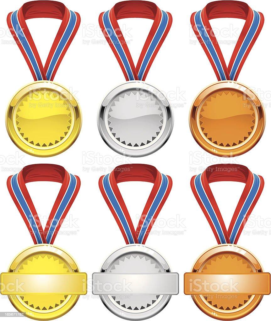 Gold, Silver and Bronse Awards royalty-free stock vector art