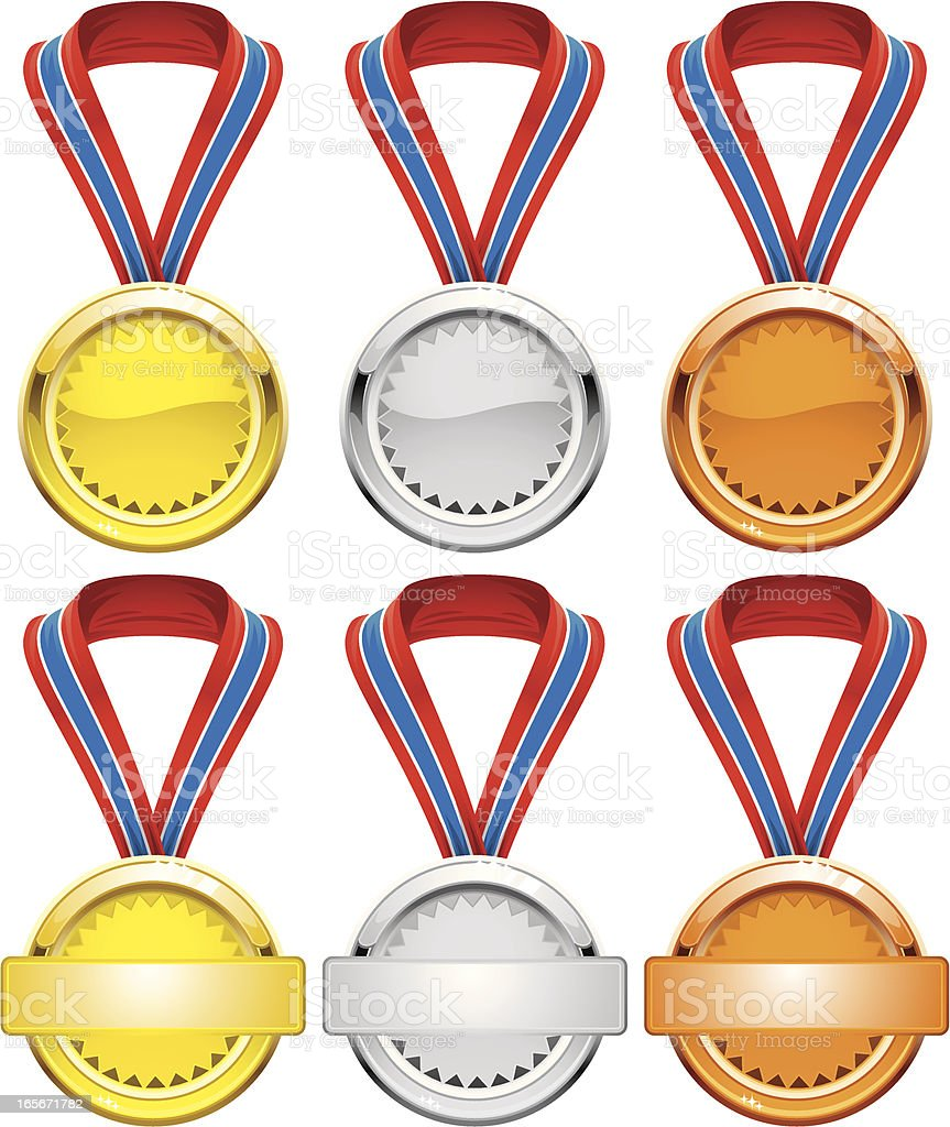 Gold, Silver and Bronse Awards vector art illustration
