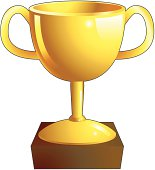 Gold trophy illustration icon