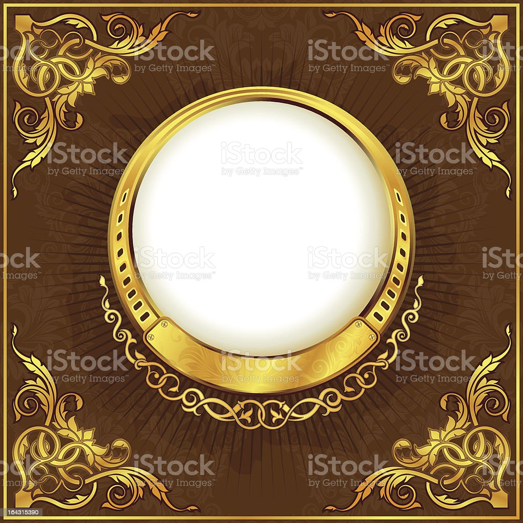 Gold vintage frame vector art illustration