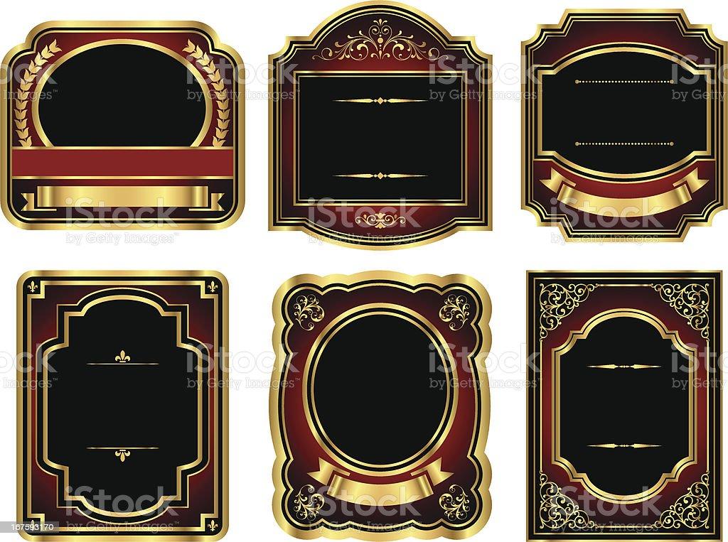 Rótulos Vintage ouro - ilustração de arte em vetor