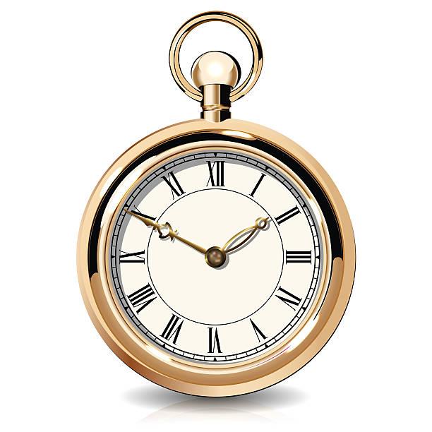 Gold vintage watches vector art illustration