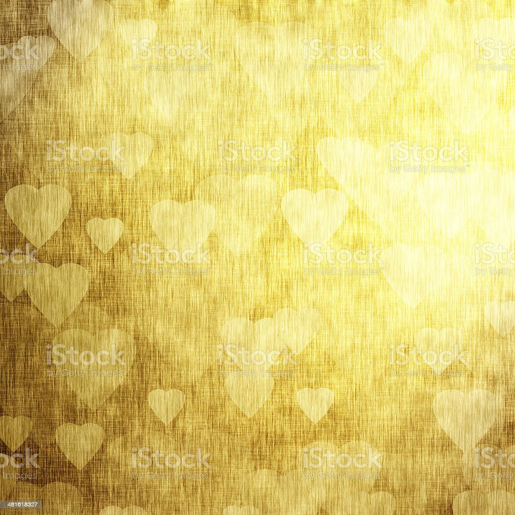 Golden background with hearts vector art illustration