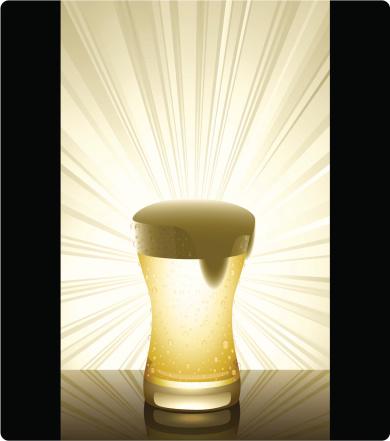 Cerveja Dourada Vertical - Arte vetorial de stock e mais imagens de Bebida com espuma