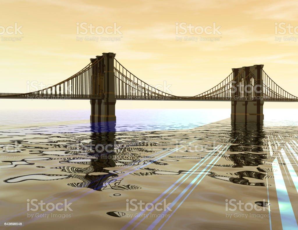 Golden Bridge vector art illustration