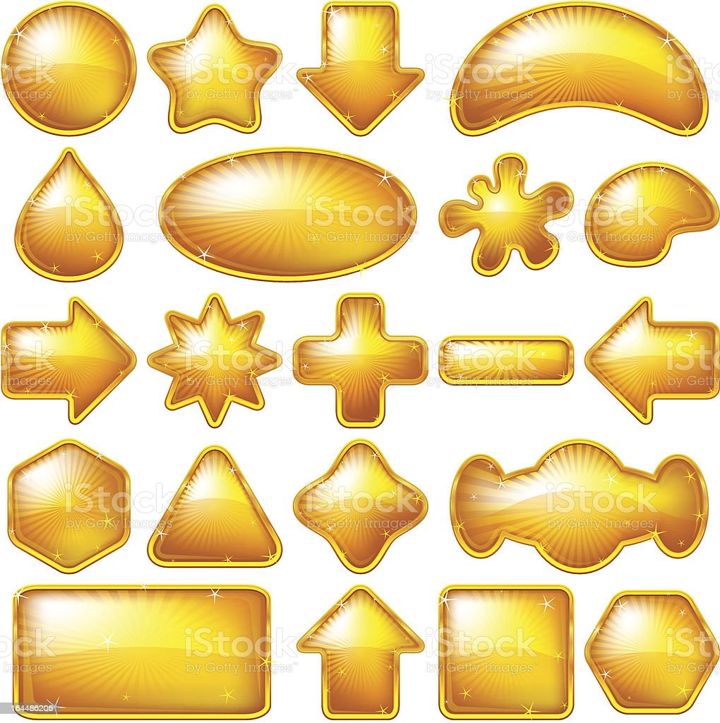 Golden buttons, set royalty-free stock vector art
