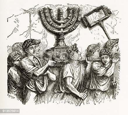 Rare and beautifully executed Engraved illustration of robed men carrying the Golden Candlestick, menorah, of the Jewish Temple Biblical Engraving from The History and Principles and Practice of Symbolism in Christian Art, by F. Edward Hulme and Published in 1891. Copyright has expired on this artwork. Digitally restored.
