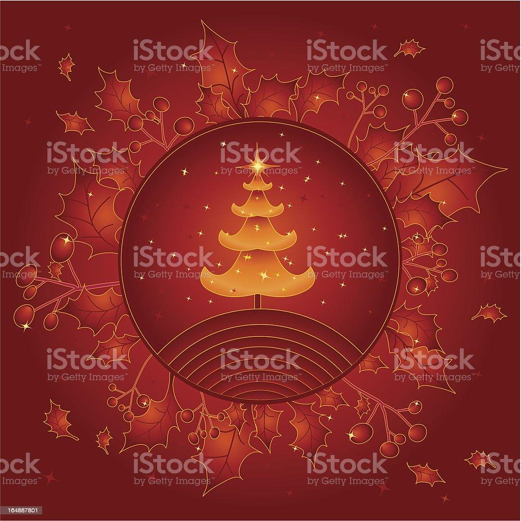 golden christmas tree royalty-free stock vector art
