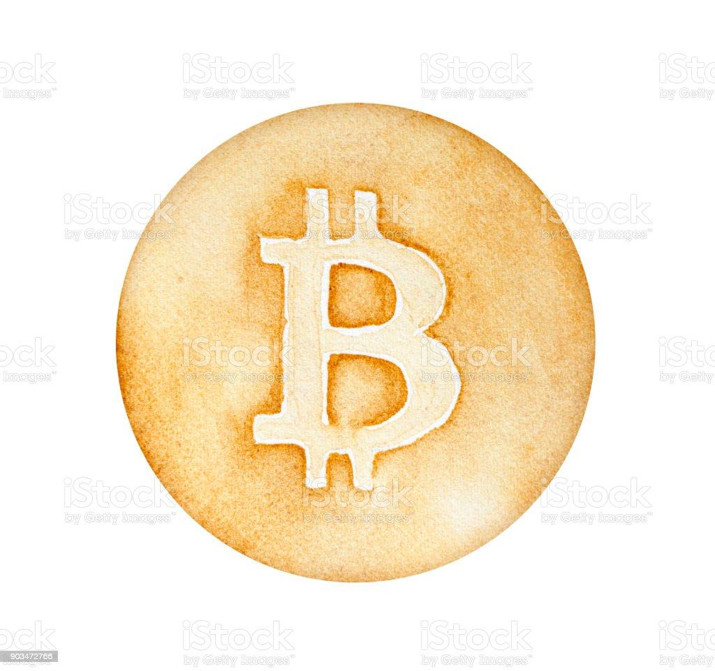 Altin Madeni Para Ile Buyuk Harf B Gravur Bitcoin Isareti Stok