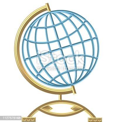 istock Golden Compass – Wind rose - steering wheel 1127575168