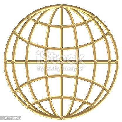 istock Golden Compass – Wind rose - steering wheel 1127575236