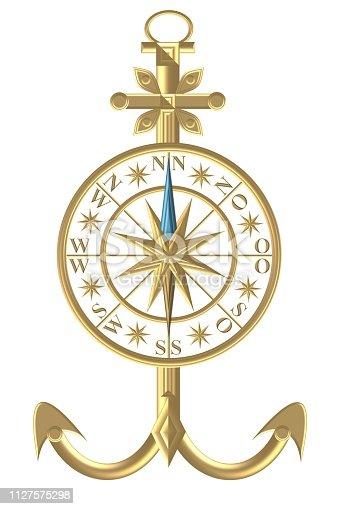 istock Golden Compass – Wind rose - steering wheel 1127575298