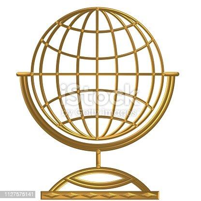 istock Golden Compass - Windrose - Steering Wheel 1127575141