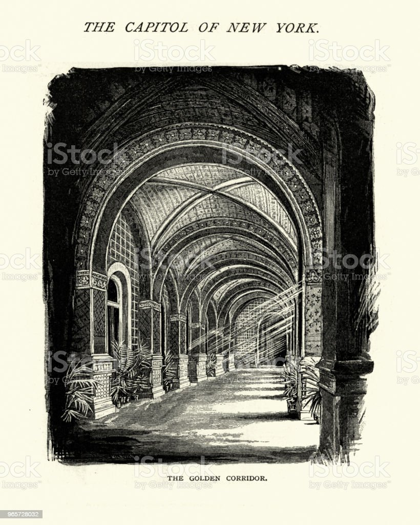 Golden corridor, New York State Capitol building, Albany, 19th Century - Royalty-free 1870-1879 stock illustration