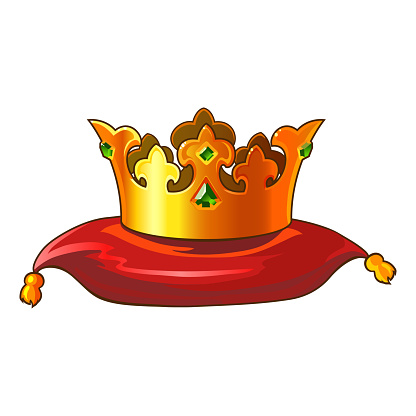 Golden Crown on Red Cushion