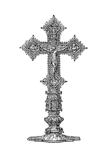 Illustration of a Golden Crucifixion