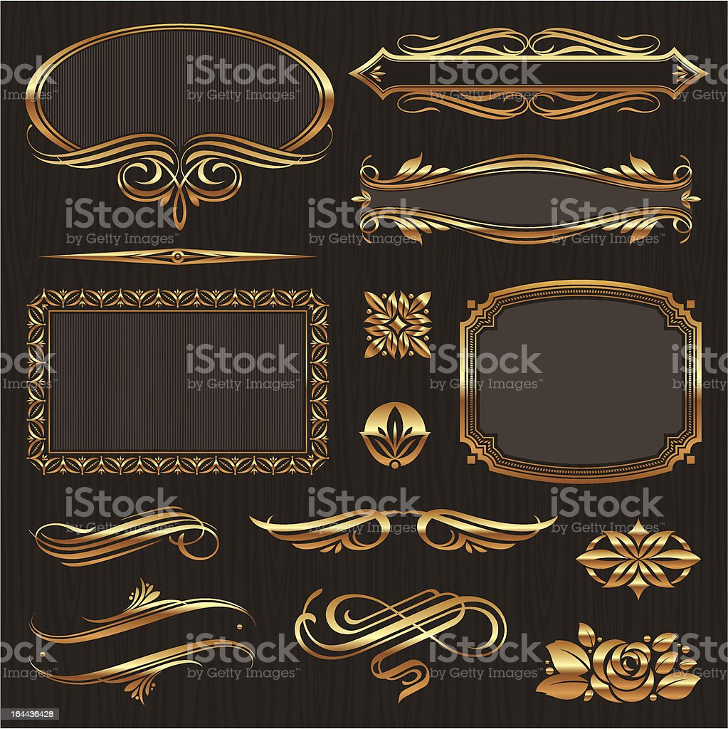 Golden design elements & page decor royalty-free stock vector art