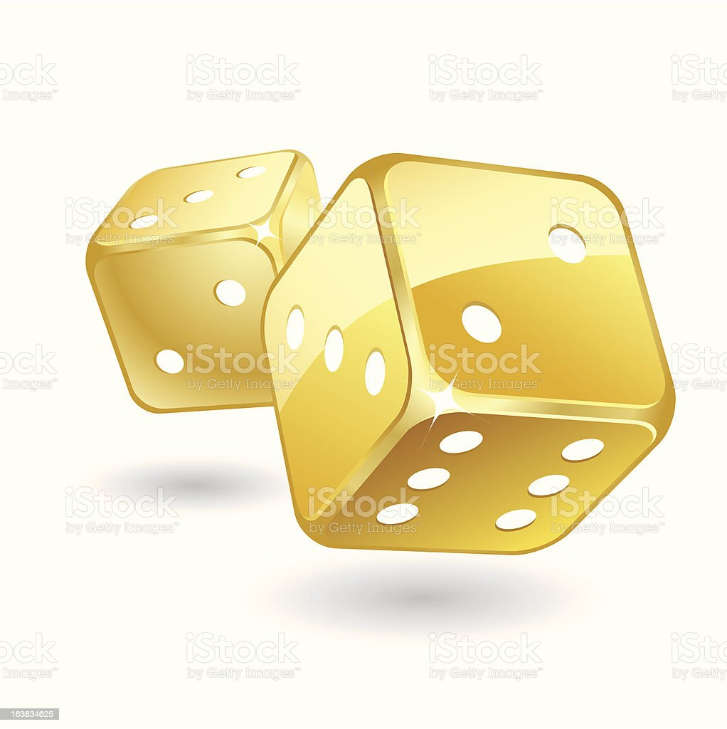 Golden dices vector art illustration
