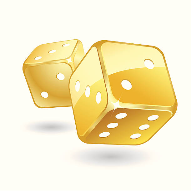 golden dices - dice stock illustrations, clip art, cartoons, & icons