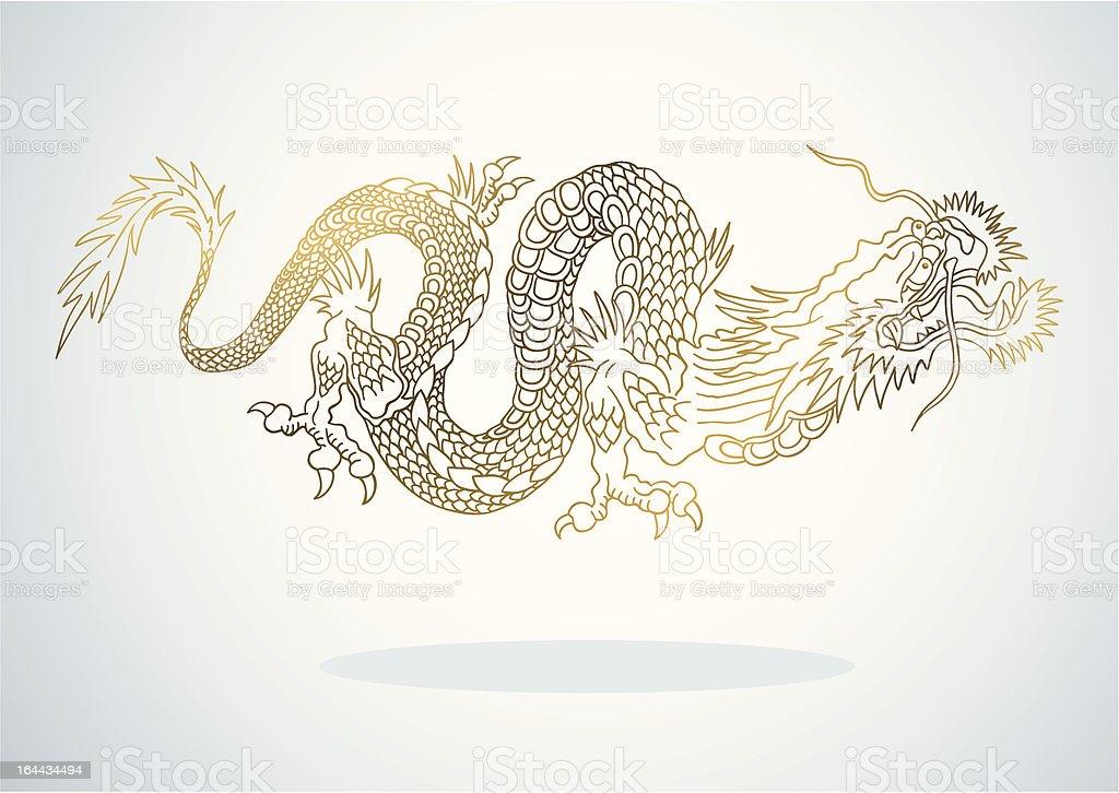 Golden Dragon royalty-free stock vector art