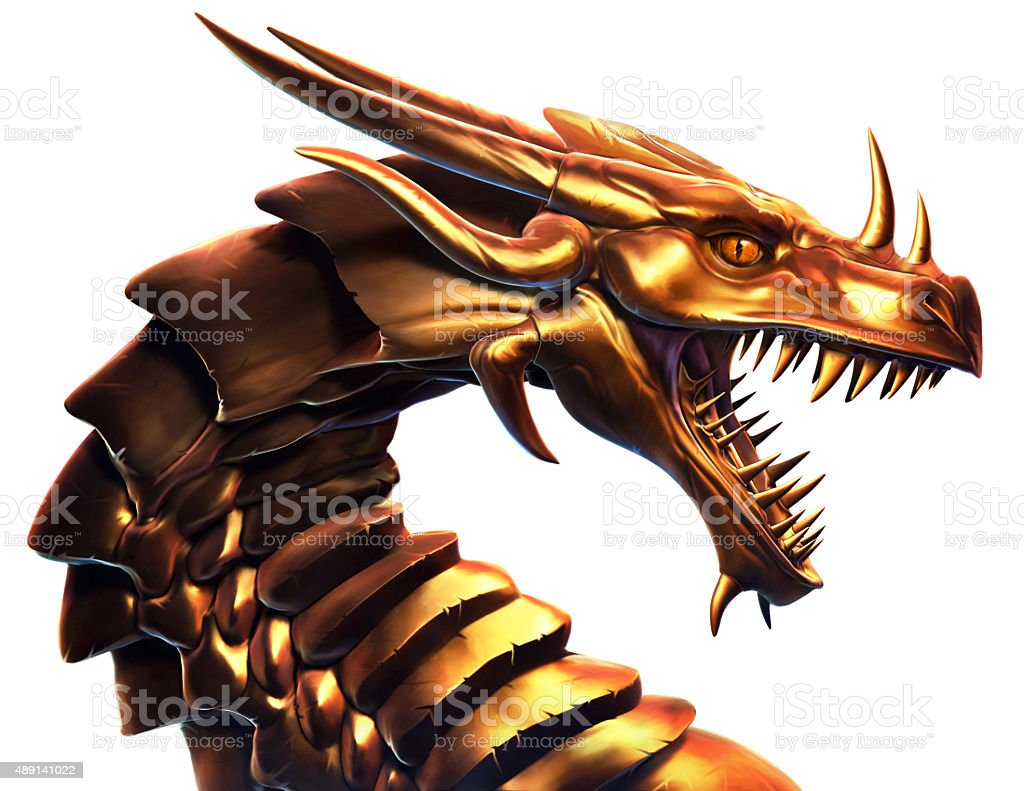 Golden Dragon vector art illustration