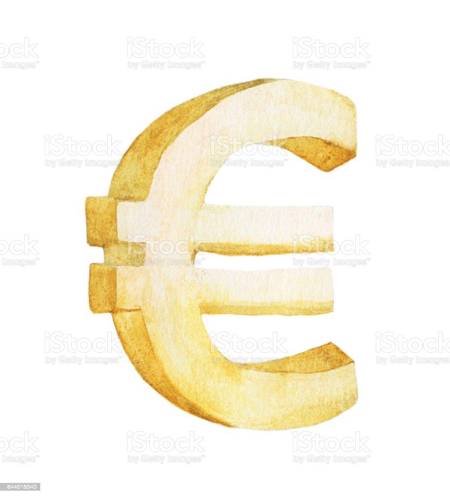 Altin Euro Beyaz Arka Plan Uzerinde Boyama Suluboya Illustrasyon
