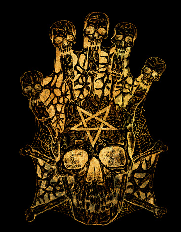 Golden evil skull with crossbones and pentagram on black.