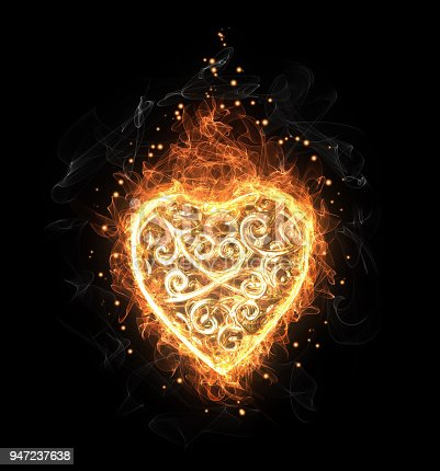 Golden fire openwork heart, black background