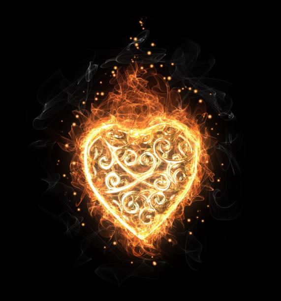 Cœur de feu doré ajouré - Illustration vectorielle
