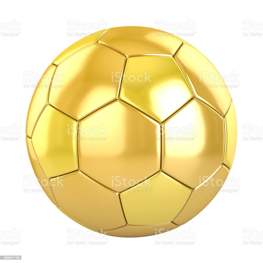 golden football (soccer ball) on white. 3d render - ilustración de arte vectorial
