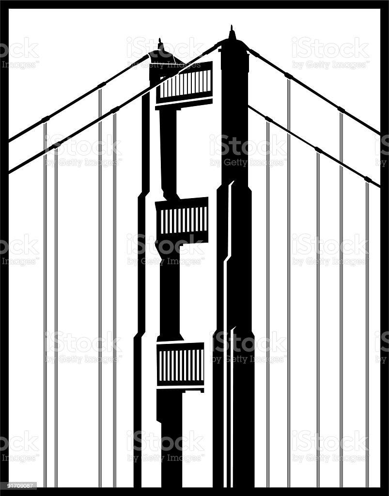 Golden Gate Bridge Line Art vector art illustration