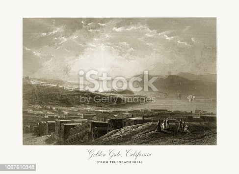 Very Rare, Beautifully Illustrated Antique Engraving of Golden Gate on the Coast of California, United States, American Victorian Engraving, 1872.