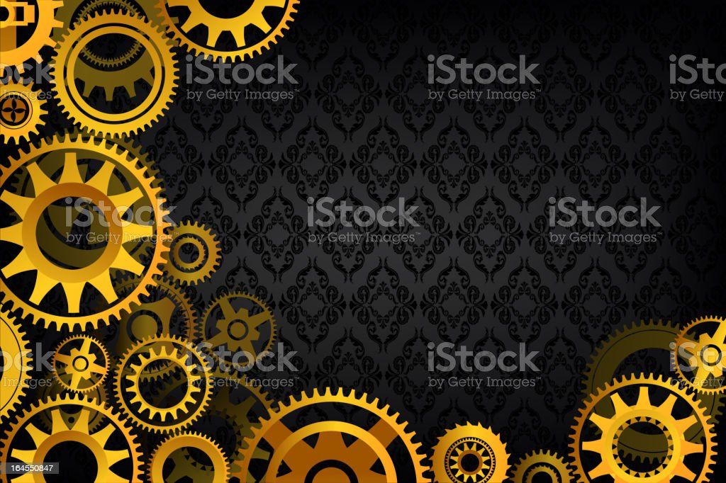 Golden Gears in Motion royalty-free stock vector art