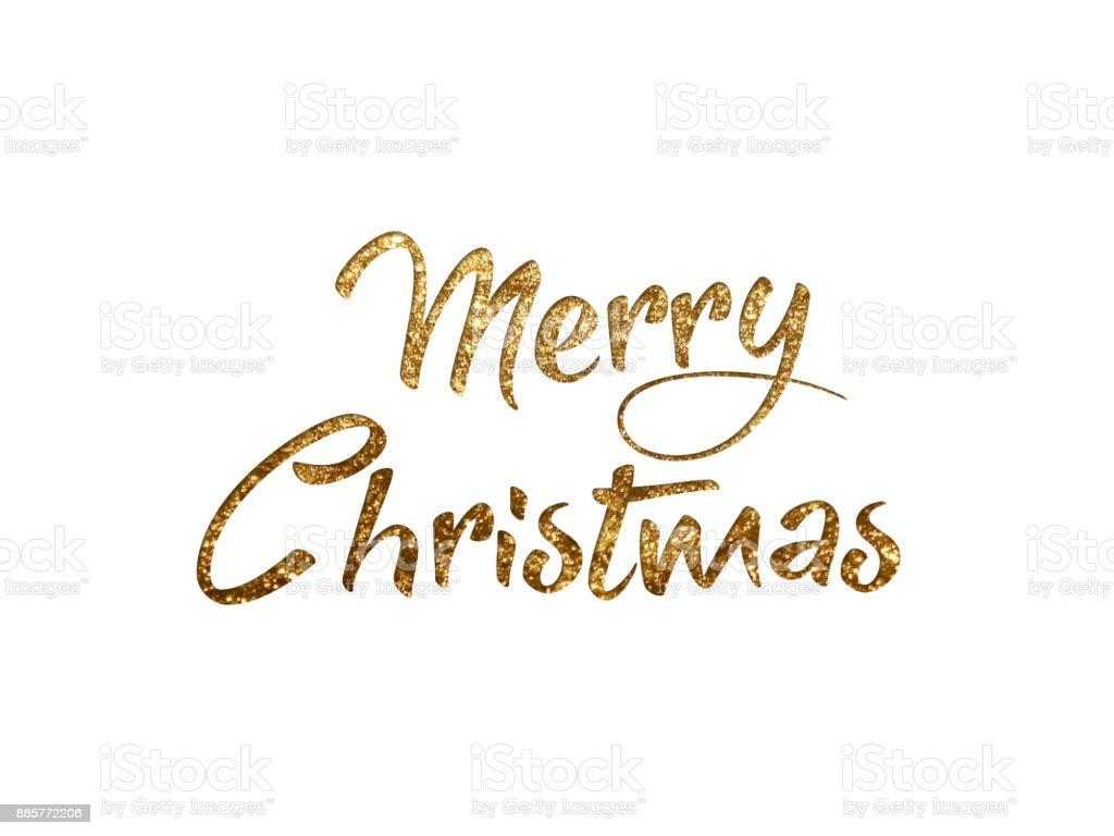 Goldenen Glitzer Isoliert Hand Schreiben Wort Frohe Weihnachten ...