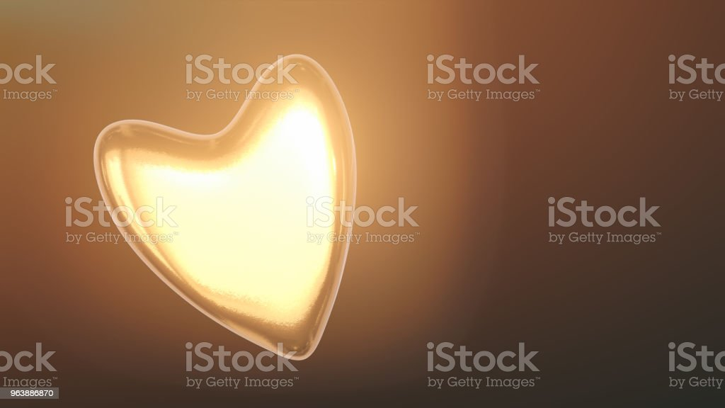 Golden Heart 3d Illustration - Royalty-free Abstract stock illustration