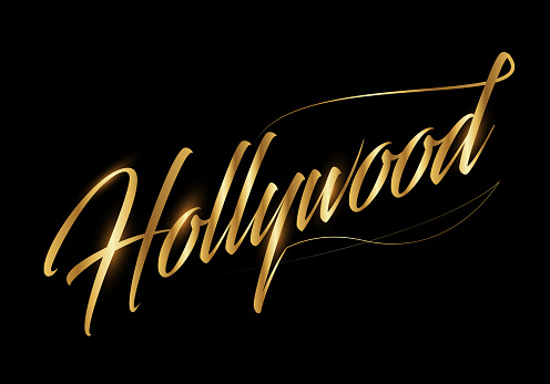 Handwriting calligraphic Hollywood  type on black background. Italic hand script. Fame city.