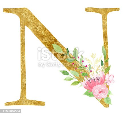 Golden initial N letter raster illustration. Latin alphabet sign with beautiful pink flowers and leaves watercolor painting. Cardboard consonant with flowering. Floral logo isolated design element