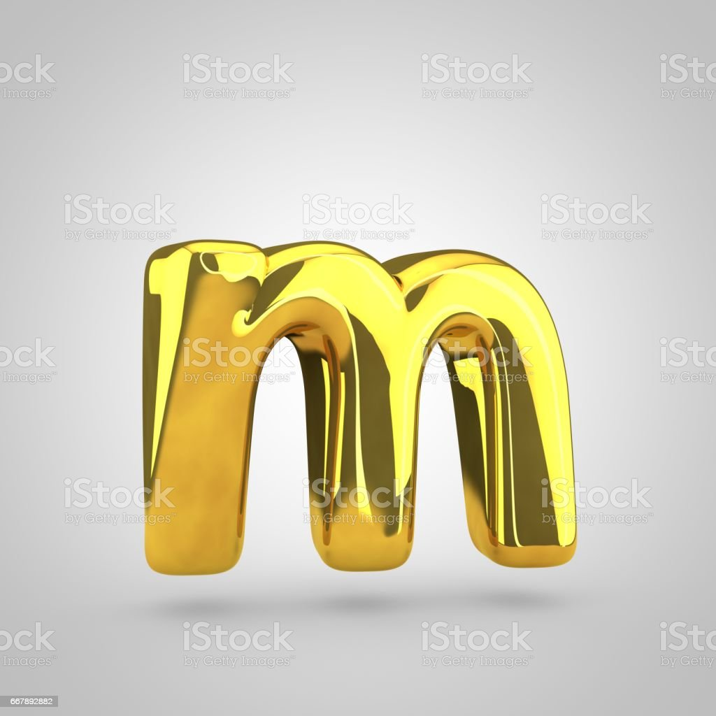 Golden letter M lowercase isolated on white background royalty-free golden letter m lowercase isolated on white background stock vector art & more images of alphabet