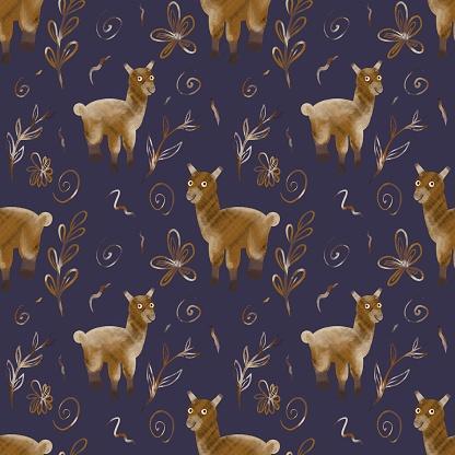 Golden llama alpaca on a dark background. Childish seamless cute pattern. Digital art.