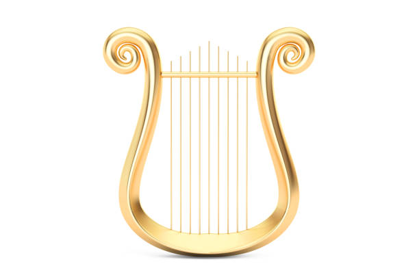 Golden Lyre, 3D rendering isolated on white background vector art illustration