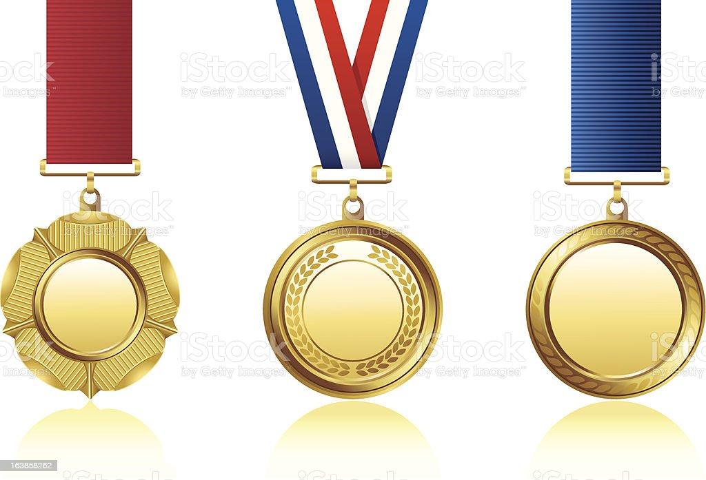 Golden medals vector art illustration