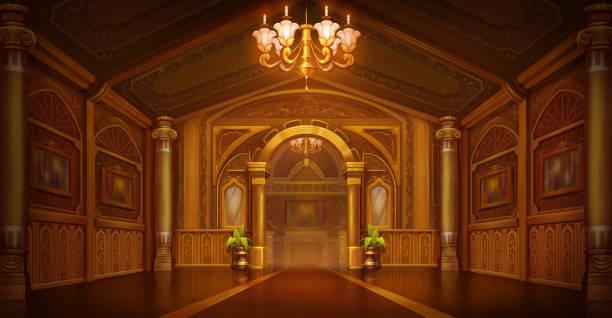bildbanksillustrationer, clip art samt tecknat material och ikoner med golden palace. golden city. castle interiör - palats